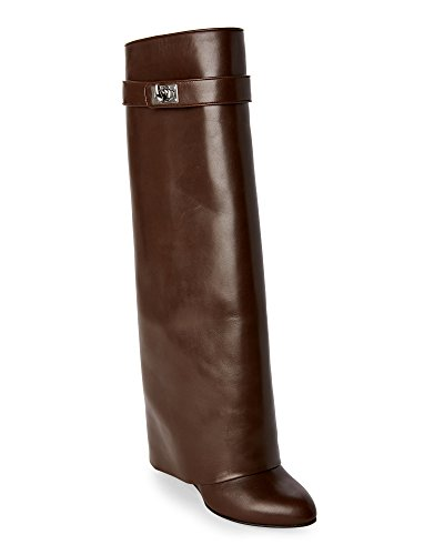 $2395 38.5 GIVENCHY Shark Lock Pant Leg Wedge Boots Dark Brown (Shark Lock Boot compare prices)