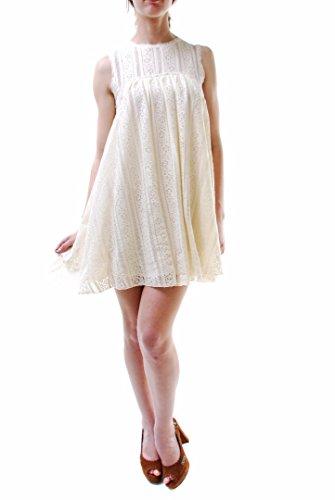 Autentica fiori di pizzo bianco di mini vestito off dimensioni Free People delle donne M