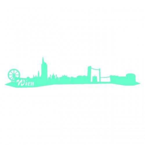 Wandtattoo Wien Skyline Wandaufkleber viele Farben und Größen sofort lieferbar in 8 Größen und 25 Farben (30x6,7cm mint)