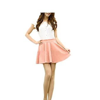 Sanwood Women's Candy Color Stretch Waist Pleated Mini Skirts (Light Pink)