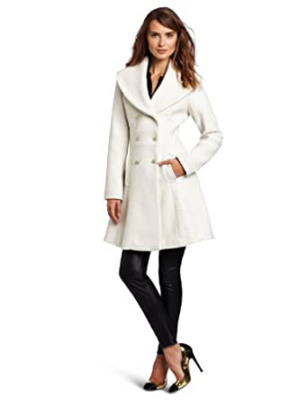 Jessica Simpson Women's Novelty Wool Double Breasted Walker Coat, Off-White, X-Large