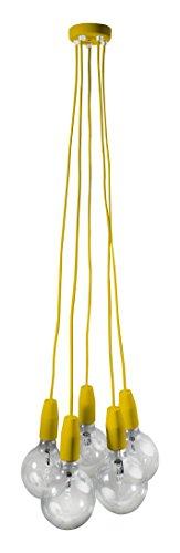 Sforzin ART.1711,49 Multiplo Texture-Rosetta/sospensione in metallo, 100 W, colore: giallo