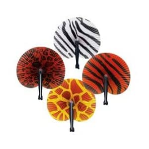 Safari Print Folding Fans (1 dz)