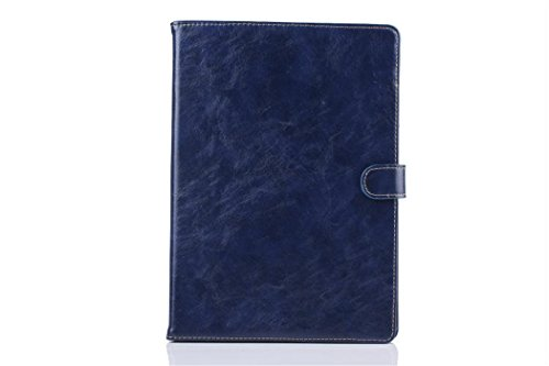 Apple Ipad Air 2 Case Borch Fashion Luxury Oil Wax Crazy Horse Leather Multi-Function Protective Leather Light-Weight Folding Flip Smart Case Cover For For Ipad Air 2 (Deep Blue)