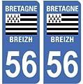 2 autocollants 56 Morbihan Bretagne plaque immatriculation département auto 56 Morbihan : angles arrondis