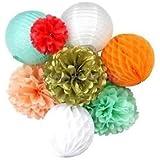 Alcoa Prime 8pcs/set Party Wedding Decoration Set Pompom Flower Lantern Honeycomb Balls