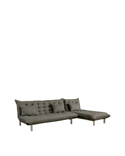 Abbyson Living Sethford Gray Linen Convertible Sectional Sofa, Grey