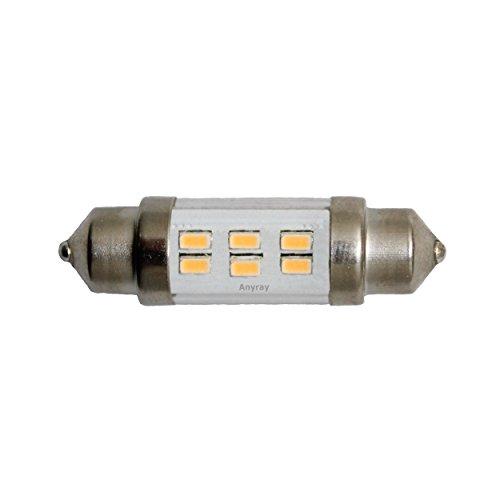 Anyray® (1)-Lamp 37Mm High Power 6 Led Smd Festoon Auto Bulb Dome Light 10-30V Dc Warm White