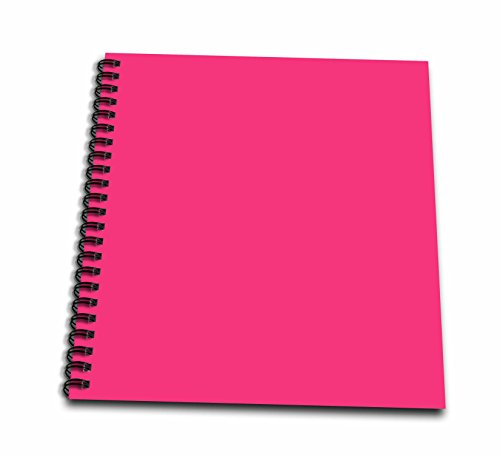 3dRose db_159869_2 Hot Pink-Plain Simple One Solid Color-Girly Bright Vibrant Neon Tropical Summery Summer Pink-Memory Book, 12 by 12-Inch