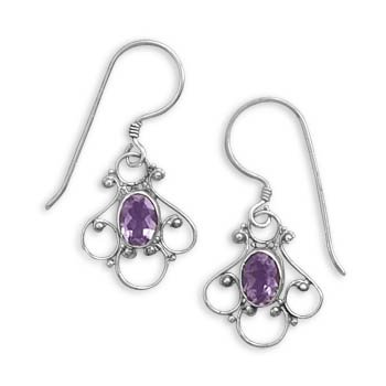 Sterling Silver Amethyst Earrings on French Wire