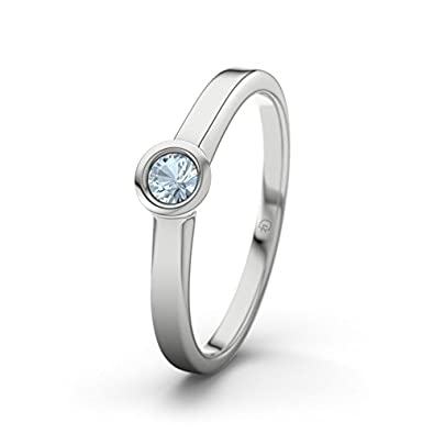 21DIAMONDS Rennes Engagement Women's Ring Stunning Round Brilliant Cut Blue Topaz 14 carat (585) White Gold Engagement Ring