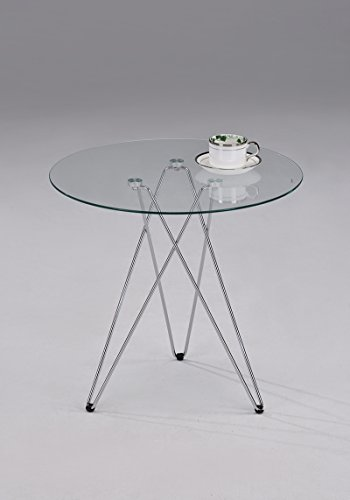 Chrome Metal Glass Round Side End Table (Chrome End Table compare prices)