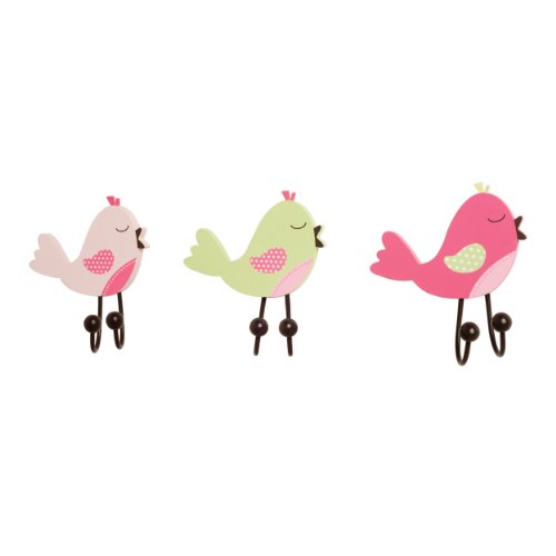CoCaLo Mix & Match Wall Hooks, Birdies, 3 Count
