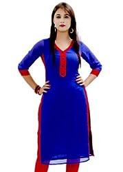 Surat Tex Women's Cotton Kurta - Blue & Red-Free Size