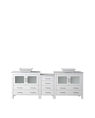Virtu USA Dior 82 Double Bath Vanity Cabinet, White/White Marble