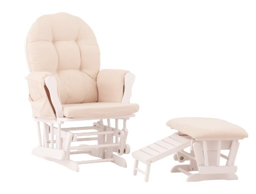 Status Roma Glider and Nursing Ottoman, White/Beige