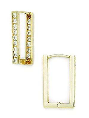 14ct Yellow Gold CZ Square Hoop Hinged Earrings - Measures 18x11mm