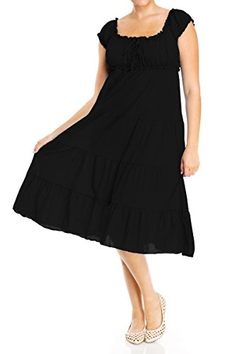 eVogues Plus Size MidNight Black Cotton Empire Waist SunDress - 1X