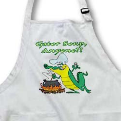 Gator Soup Anyone Funny Alligator Cooking Cartoon - Medium Length Apron With Pouch Pockets 22w X 24l