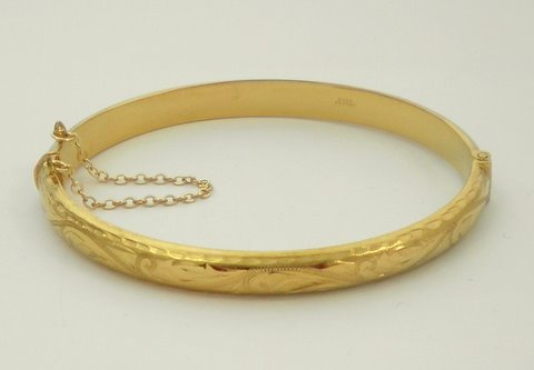 9ct Rolled Gold 6mm Hollow Engraved Bangle