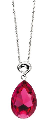 Elements Sterling Silver Ladies' P3215P Fuchsia Swarovski Crystal Drop Pendant with Fancy Bale, Chain Length 46cm