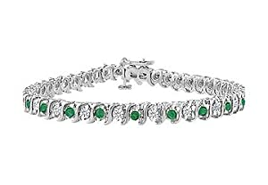 Emerald and Diamond Tennis Bracelet : 14K White Gold - 2.00 CT TGW