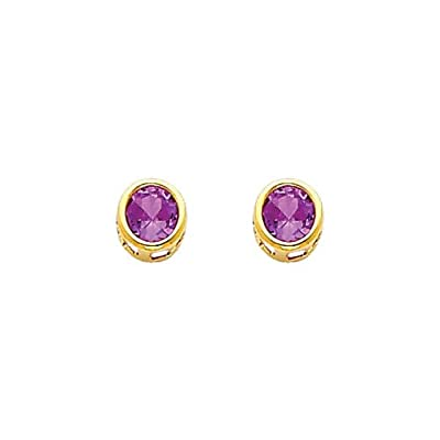 14K Yellow Gold 5mm Round Bezel Set February CZ Birthstone Stud Earrings for Baby and Children (Amethyst, Purple) sale off 2015