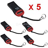 5X USB 2.0 Micro SD SDHC TF Flash Memory Card Reader Mini Adapter For Laptop