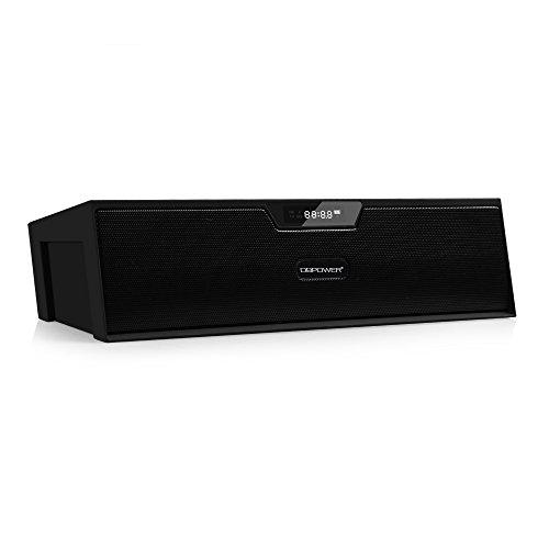 Bluetooth-Stereo-Lautsprecher-BX-100-LED-Anzeige-Tragbare-Multifunktions-Drahtlose-Wecker-Lautsprecher-Uhrenradio-fuer-Smartphone-und-Anderen-Bluetooth-Geraeten-Schwarz
