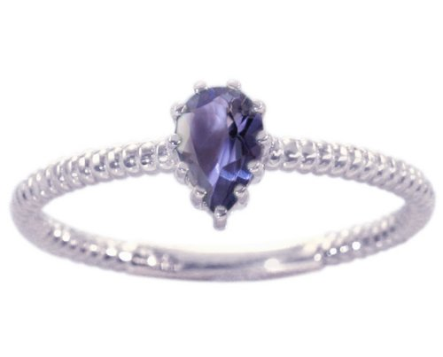 14K White Gold Pear Gemstone Solitaire Stackable Ring-Iolite, size6