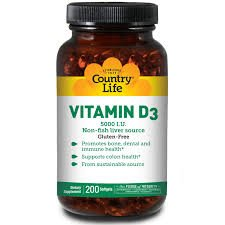 Country Life Vitamin D3 Non-Fish Liver Source, 5000 Iu, Softgels 200 Ea
