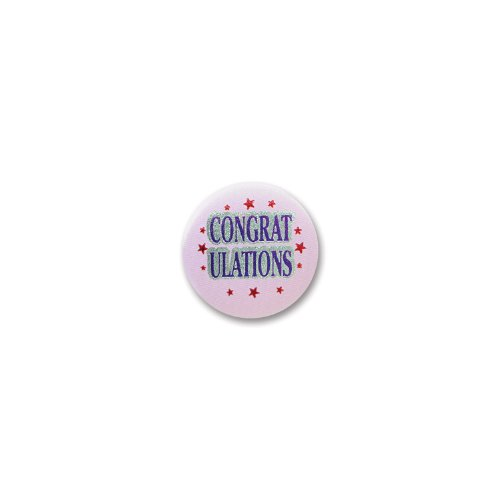 Beistle Bn003 Congratulations Satin Buttons, 2-Inch, 6-Pack front-359356