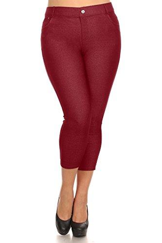 ICONOFLASH Women's Solid Color Capri Jegging, Burgundy, 3X-Large (Fashion Bug Plus Size)