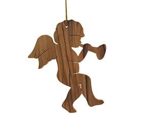 """Olive Wood Angel Ornament 3""""H"""