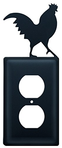 Iron Rooster Outlet Cover - Black Metal
