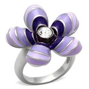 COCKTAIL RING - Multi-Color Enamel Floral Ring in High Polished Stainless Steel Featuring a Single Round Cut Clear Crystal
