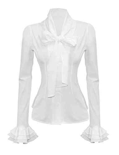 Mosocow Women's Vintage Bow Tie Neck Shirt Blouse Tops L White (Vintage Women Tops compare prices)