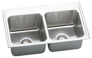 Elkay DLR2519100 Gourmet Lustertone Stainless Steel Double Basin Top-Mount Kitchen Sink, 25-Inch x 19-Inch