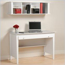 Contemporary Desk and Hutch White