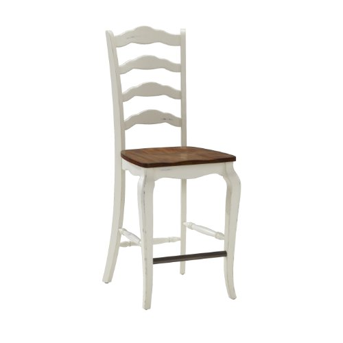 Home Styles 5518-88 The French Countryside Counter Stool, Oak And Rubbed White front-971534