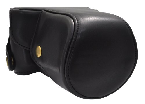PLATA ( プラタ ) Nikon(ニコン) 1 J3 レンズキット 対応 カメラ ケース & ストラップ セット  ブラック