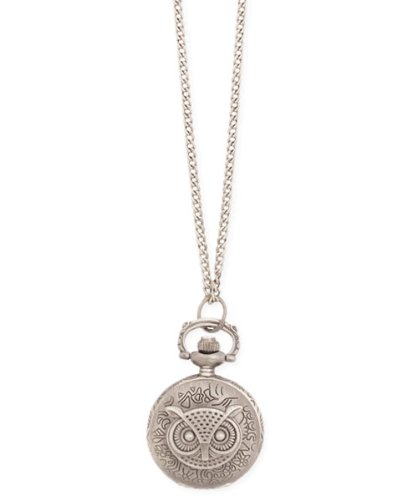 Antiqued Silver Metal Owl Watch Locket Necklace