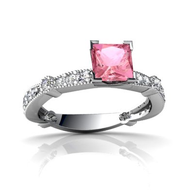 14K White Gold Square Created Pink Sapphire Engagement Ring