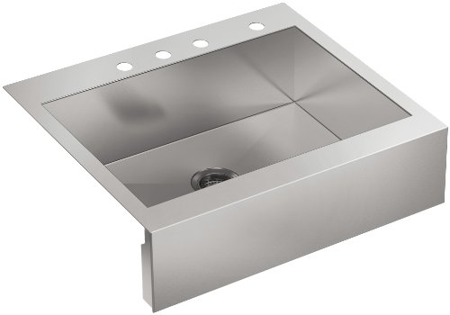Kohler K-3935-4-NA Four-Hole Stainless Steel Sink with Shortened Apron-Front Vault for 30-Inch Cabinet Top-Mount Single Basin, Stainless Steel