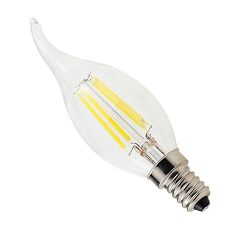 Phigoning 1 Stück E14 4W COB Energie Einsparung Glühfaden LED Kerze Filament Lampe Fadenlampe Flammenspitze Chandelier Kaltweiß AC220-240V