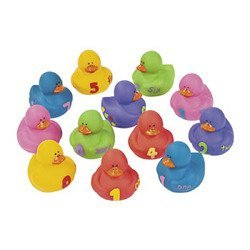 "Rubber Ducks Educational Products - 12 pc 1-2-3 Counting Learning to Count Rubber Duckie Ducky Ducks - Ducks wearing ""0"" through ""9"" help kids learn to count"