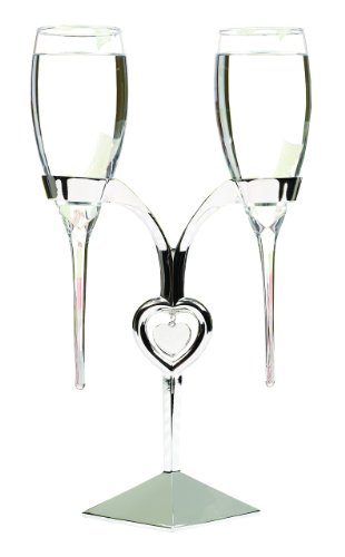 Hortense B. Hewitt Wedding Accessories Raindrop Champagne Toasting Flutes and Silver-Plated Holder