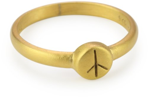 Satya Jewelry Gold Vermeil Etched Peace Ring, Size 7