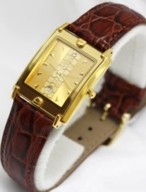 Swistar Watches Swistar Men's Strap Sapphire Crystal 23 Gold Finish Men's Watch