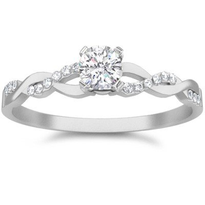 0.58 Carat Affordable Engagement Ring with Round cut Diamond on 14K White gold